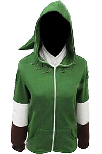 Ya-cos The Legend of Zelda Link Hooded Hyrule Warriors Zipper Coat Jacket Green (Green, X-Large) -