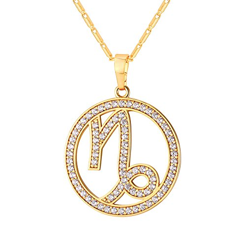 U7 Capricorn Zodiac Pendant Hollow Fashion with Cubic Zirconia Women & Men Birthday Gift Constellation Jewelry 18K Gold Plated ()