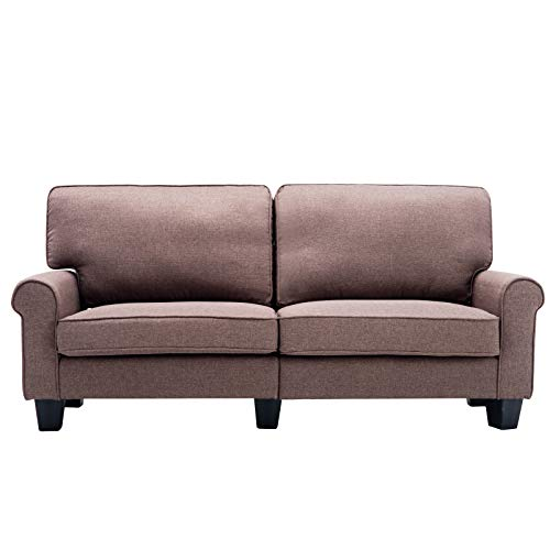 Modern Loveseat, Unihome Upholstered Linen Fabric Sofa 71'' Living Room Couch with Flared Arm Brown Fabric Loveseat Sofa