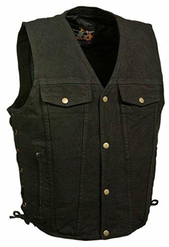 Milwaukee Men's Motorcycle Blk Side Lace Denim Vest W/2 Gun Pockets Chest & Side Pockets(Regular 4XL) - Gun Motorcycle Boots