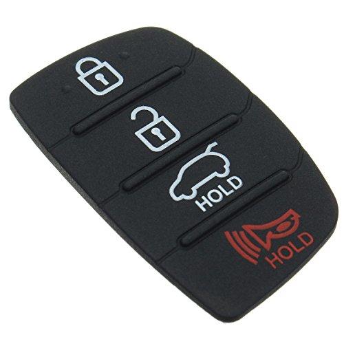 Daphot-Store - 4 Button Rubber Car Remote Key Cover Shell Case Pad Key Button Pad For HYUNDAI ix45 Santa Fe 2013 (Santa Fe Tool Car)