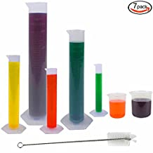 JPSOR 5 Pcs Clear Plastic Graduated Cylinder, 10, 25, 50, 100, 250ml, with 2 Plastic Beakers 250, 500ml & 1 Test Tube Brush