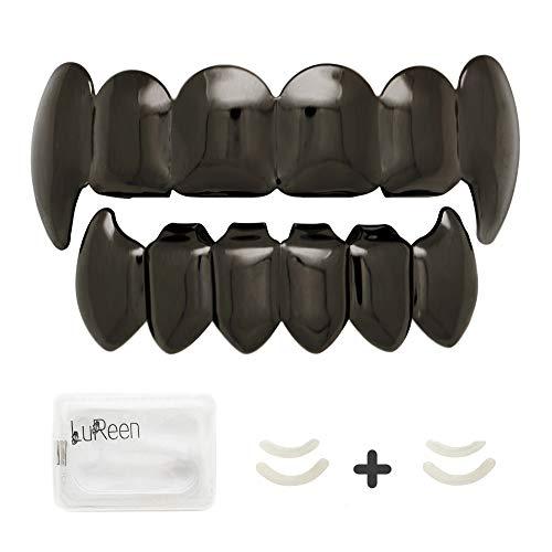 LuReen Black Teeth Grillz Shiny Vampire Fangs Grillz 6 Teeth Top Bottom Set Grillz Hip Hop Teeth Grills+ Extra 2 Molding Bars