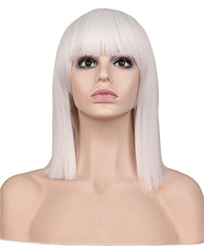 Bzuma - Peluca Corta Blanca aseado Recto Bang Partido de Cosplay Muchachas de Las Mujeres del
