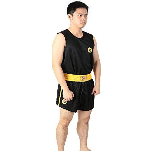 wesing wushu sanda uniform kick boxing sanda suit plus size and kids xxs -5xl sanshou set (BLACK, XL)