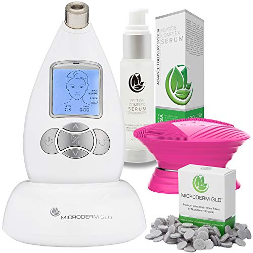 Microderm GLO Advanced Skincare Bundle Includes Diamond Microdermabrasion System, 10mm Filters 100 pack, Peptide Complex Serum, Sonic Facial Cleansing Brush. Perfect Anti Aging Treatment Kit - System Microdermabrasion Facial