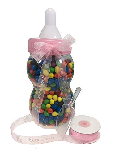 13.5'' inch Plastic Milk Bottle - Baby Shower Game, Fillable Baby Shower Bank Plastic Decoration Centerpiece (Pink) by LACrafts (Image #5)