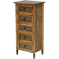 Heather Ann Creations Wallace Collection Living Room Bamboo Style 5 Drawer Tall Free Standing Chest, Rustic Farmhouse, Standard