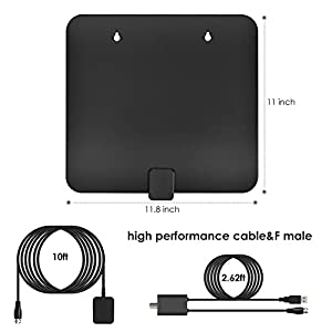 HDTV Antenna,Upgraded 2018 Version TV Antenna for Digital TV Indoor, Best 60+ Miles Range with UL Power Adapter & Detacable Amplifier, 10+3 FT High Performance Cable for 1080P 4K High Reception.