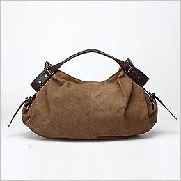 4183ffda79 Amazon.com  MOMO Women s Hobo Style Canvas Genuine Leather Tote Handbag  Shoulder Bag Coffee (0745750224404)  Books