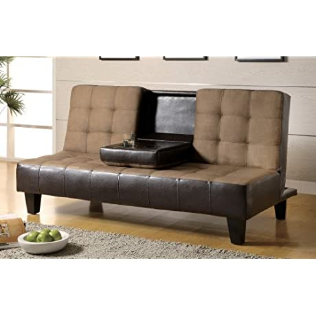 Coaster 300237 Convertible Sofa Bed With Console Two Tone Upholstery