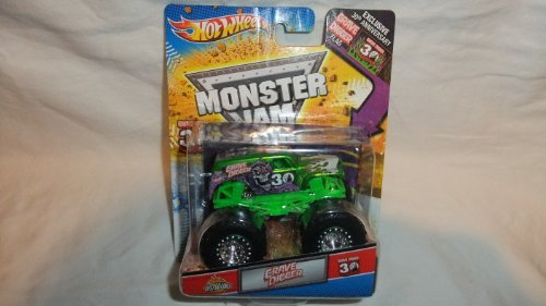 HOT WHEELS MONSTER JAM GREEN SPECTRAFLAMES 30TH ANNIVERSARY GRAVE DIGGER LIMITED EDITION MONSTER TRUCK DIE-CAST