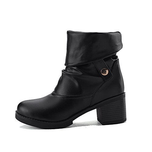 Toe Black on Boots Round Heels Pull Women's PU Closed Kitten Solid AmoonyFashion qwFYP1c