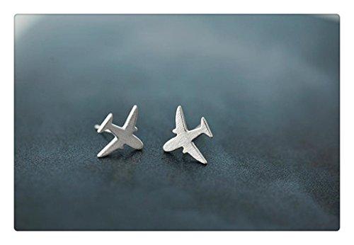 Sterling Silver Airplane Stud Earrings - Plane Post Earrings - Jet Post Earrings - Traveler Jewelry - Gift for her - Cute Stud Earrings