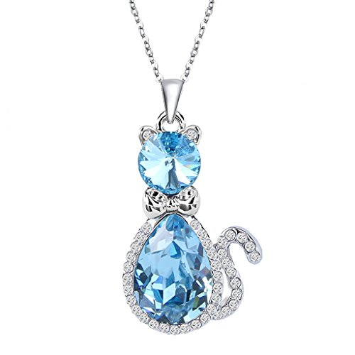 EleQueen Women's Silver-tone Pendant Necklace Cute Kitty Teardrop Cat Aquamarine Color Adorned with Swarovski Crystals