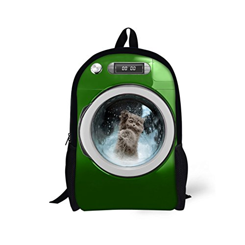 Price comparison product image CHAQLIN Creative Washing Machine Cat Children School Bags Green