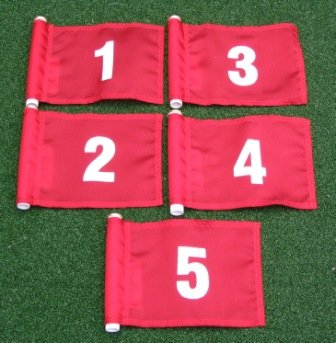 """White Numbered Set (1-5) Red Jr. (8"""" L x 6"""" H ) Marker Flags For Golf & Putting Green Applications"""