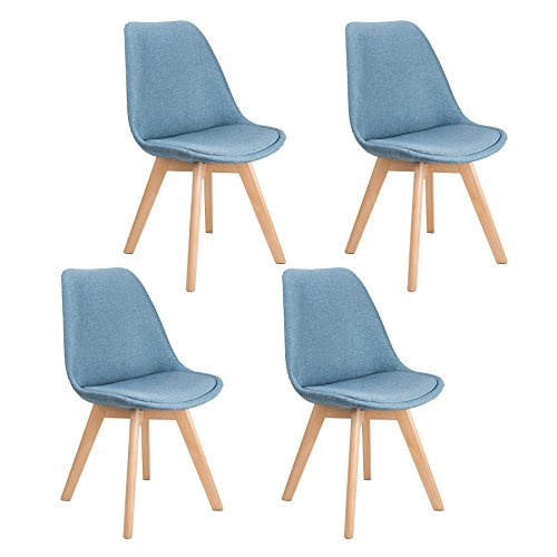 CO-Z Set of 4 DSW Eames Chairs, Mid-Century Modern Upholstered Fabric Dining Chair with Solid Wood Legs (Sets of 4, Light (Classic Diner Chair)
