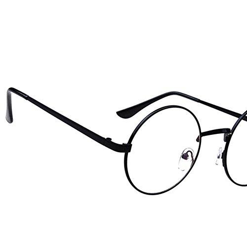 vidrios unisex Retro la de de hombres Gafas Transparente Marco mujeres Negro para lente Redondo y de Metal de Oceanheart Sol 8Pz1wq