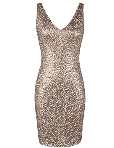 PrettyGuide Women's Sequin Cocktail Dress V Neck Bodycon Glitter Party Dress XL Champagne