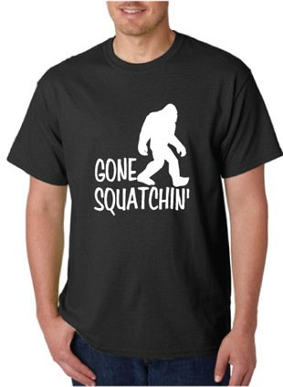Gone Squatchin' Sasquatch Big Foot Funny Humor Hunting Black Tee T-Shirt (X-Large)