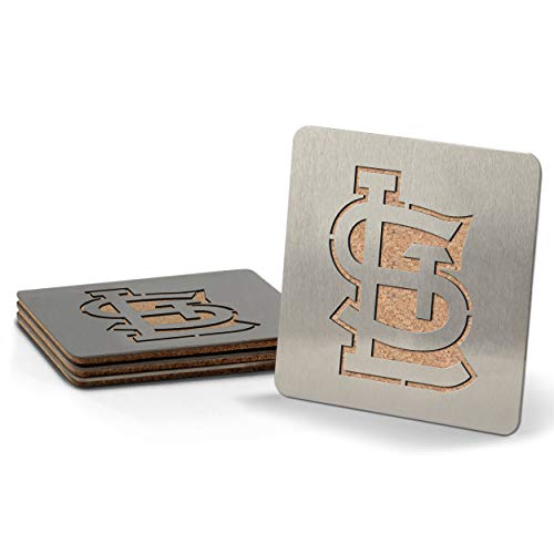 MLB St. Louis Cardinals Boasters, Heavy Duty Stainless Steel Coasters, Set of 4 ()