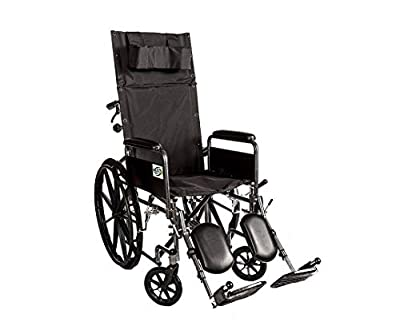Healthline Recliner Folding Wheelchair Lightweight Full Arm Detachable Padded Flip Back with Swing Away Elevating Legrests Lightweight Carbon Steel Folding Wheelchair, 18 Inch Seat