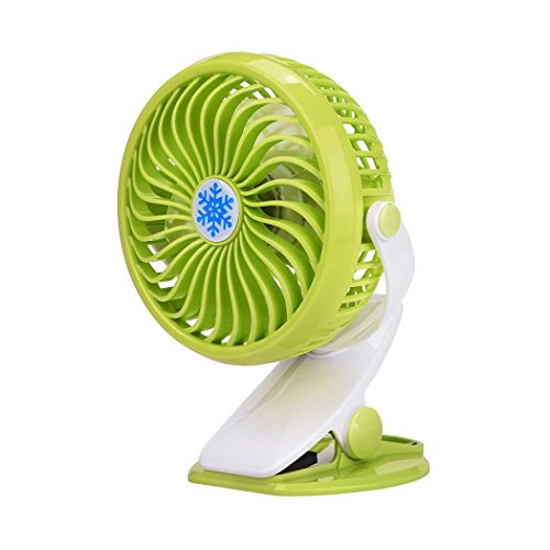 Inkach Clip On Mini Desk Fan Portable Handheld Fans with Rechargeable Battery(Included)/USB Powered Operated Table Fan (Green) by Inkach