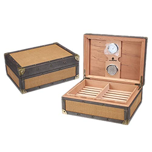 $203.06 antique humidor Lxc Classical Cigar Humidor Two-Layer Four-Zone Antique Cigar Box 50 Cigar Box 2019