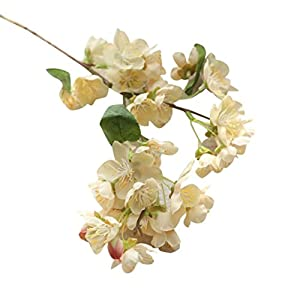 Vibola® 1PC New Qualified Artificial Fake Flowers Leaf Cherry Blossoms Floral Wedding Bouquet Party Decor Plastic Flower 100