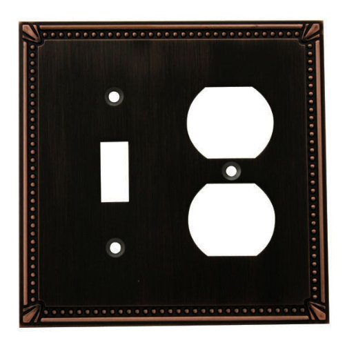 Cosmas 44059-ORB Oil Rubbed Bronze Single Toggle / Duplex Combo Electrical Outlet Wall Plate / Cover