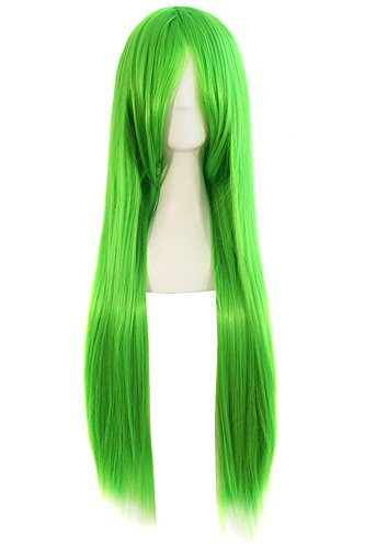 """MapofBeauty 32"""" 80cm Long Straight Anime Costume Cosplay Wig Party Wig (Fluorescent Green)"""