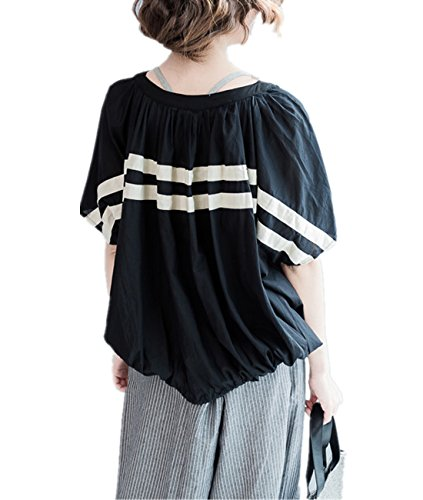 Yesno QP2 Women Casual Loose Blouse Tops 100% Cotton Contrast Color Stripes Pleated Back Elastic Hem Wide Bat-Wing