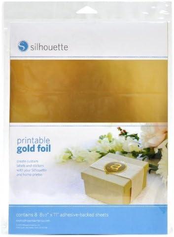 8 feuilles Papier Sticker Autocollant compatible impression jet dencre Silhouette Couleur Or
