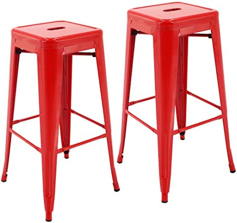 Porthos Home Stackable All-Weather Rust-Resistant Metal Barstool, 30 Seat Height Set of 2 Bar Stools, One Size,