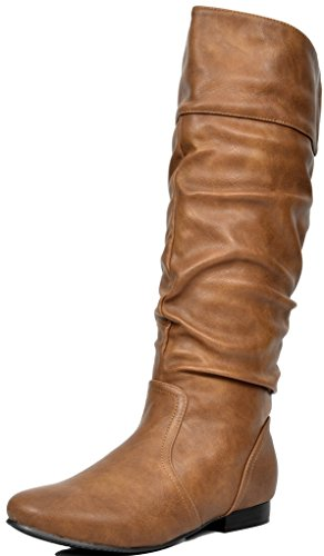 DREAM PAIRS Women's Blvd Camel Knee High Pull On Fall Weather Boots Size 9.5 M US