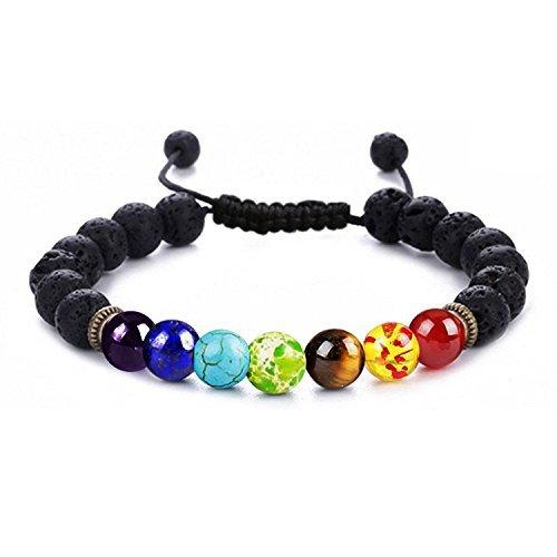 YUGDRUZY Yoga Gemstone Jewelry Men Women 8mm Lava Rock 7 Chakras Beads Bracelet Braided Rope Natural Stone Yoga Bracelet Bangle