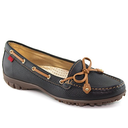 Marc Joseph New York Women's Fashion Shoes Cypress Luxury Black Grainy with Tie Bow Moccassin Size 7
