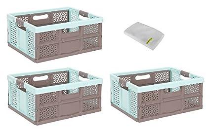 3x Caja plegable 32L AQUAMARIN/marrón Caja Plegable Plástico Caja Caja de transporte Cesta de