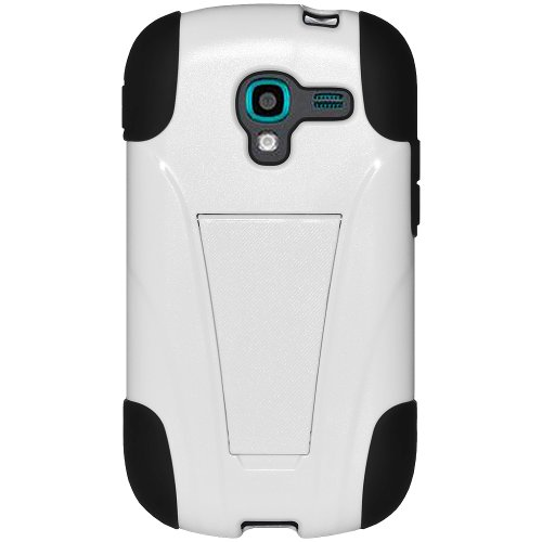 Amzer AMZ95905 Double Layer Hybrid Soft Skin Hard Shell Case with Kickstand for Samsung Galaxy Exhibit T599 - Retail Packaging - Black/White