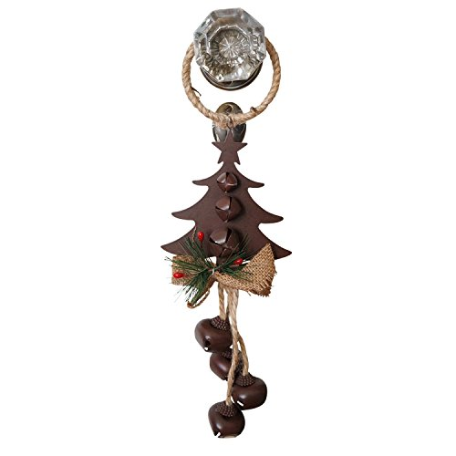 14 Inch Rustic Metal and Burlap Holiday Door Knob Hanger with 4 Jingle Bells Tree