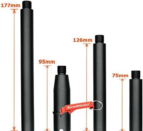 Tokyo Arms Mehrfachlänge CNC Metall -14mm CCW Outer Barrel Außenlauf für Systema PTW M4 AEG (Schwarz) - Schlüsselanhänger Inklusive