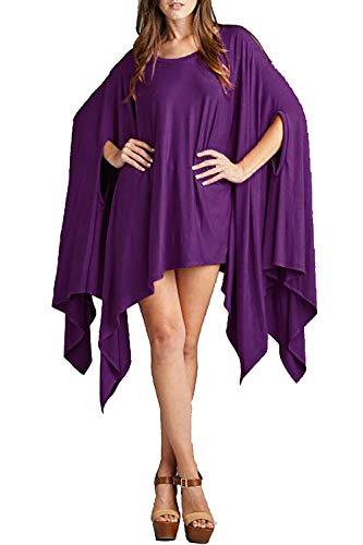 (Vivicastle Women's Loose Bat Wing Dolman Poncho Tunic Dress Top (One Size,)