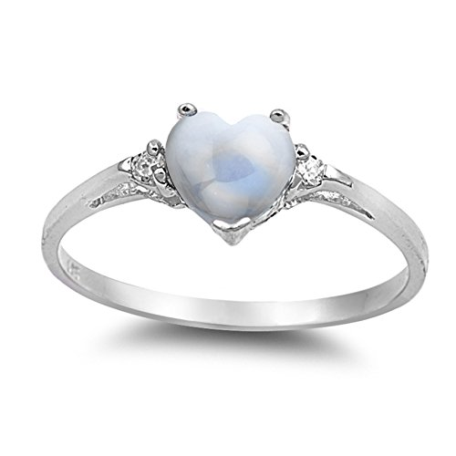925 Sterling Silver Cabochon Natural Genuine White Moonstone Heart Promise Ring Size 5