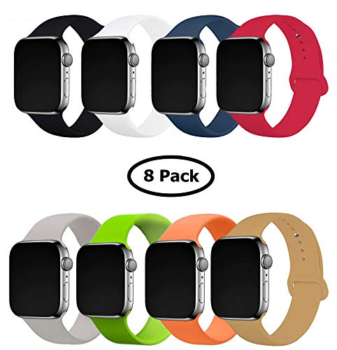 8 Pack Band for Apple Watch 42-44mm, Soft Silicone Sport Strap Replacement Bracelet Wristband for Apple Watch Series 5,4,3,2,1, Nike+, M/L Size