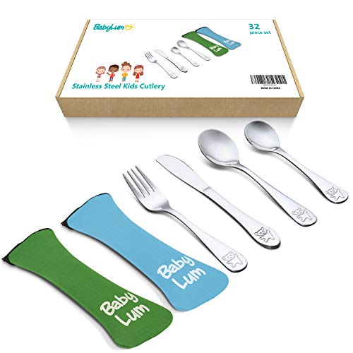 - BabyLum 32 Piece Utensils Set for Kids, Stainless Steel Cutlery Flatware, Silverware for Toddler and Child, 8 Place Settings with 8 Knives, 8 Forks, 8 Spoons, 8 Dessert Spoons, Green & Blue Soft Case