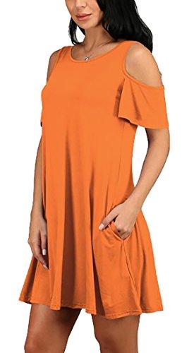 Allentato Arancione Jaycargogo Estate Vestito Donne Spalla Casuale Fredda Mini POXSP