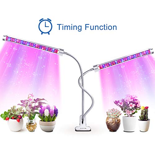 Grow Light, AOVOK LED Grow Lamp Bulbs Plant Lights Full Spectrum 3/6/12H Timer 6 Dimmable Levels Adjustable Gooseneck for Indoor Plants, Vegetable, Flowers, Fruits, Succulents, Seedlings Starting ()