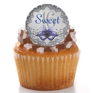 Sweet 16 Masquerade Ball Wafer Paper Cupcake Toppers 1.75 Inch for Decorating Desserts Pack of -