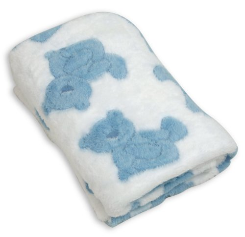 Stephan Baby Snuggle Fleece Crib Blanket, Blue Bears